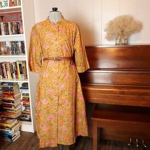 VTG Handmade 80s floral button down shift dress